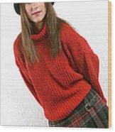 Angela Plaid Skirt Wood Print