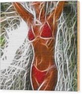 Angela Red Bikini Fractal Wood Print