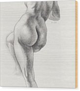 Angelina In 5b Standing Nude Leaning Onto An Art-studio Pedestal Laughing Softly Wood Print