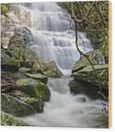 Angels At Benton Waterfall Wood Print by Debra and Dave Vanderlaan
