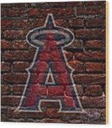 Angels Baseball Graffiti On Brick  Wood Print by Movie Poster Prints