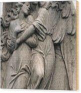 Angels Embracing - Angels Dreamy Romantic Angel Art - Guardian Angel Art  Wood Print
