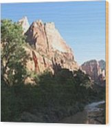 Angels Landing And Virgin River - Zion Np Wood Print