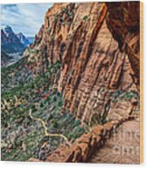 Angels Landing Trail From High Above Zion Canyon Floor Wood Print