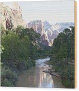 Angels Landing - Virgin River - Zion Np Wood Print
