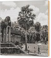 Angkor Wat Bw II Wood Print