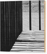 Angles And Shadows - Black And White Wood Print