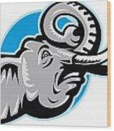Angry African Elephant Head Retro Wood Print by Aloysius Patrimonio