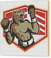 Angry Bear Boxer Boxing Retro Wood Print by Aloysius Patrimonio