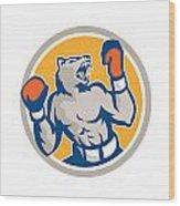 Angry Bear Boxer Gloves Circle Retro Wood Print