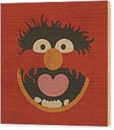 Animal Muppet Vintage Minimalistic Illustration On Worn Distressed Canvas Series No 008 Wood Print