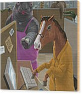 Animal Office Wood Print