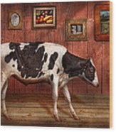 Animal - The Cow Wood Print by Mike Savad