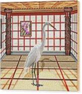 Animal - The Egret Wood Print by Mike Savad