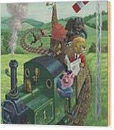 Animal Train Journey Wood Print by Martin Davey