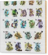 Animals And Instruments Alphabet Wood Print