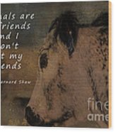 Animals Are My Friends Wood Print