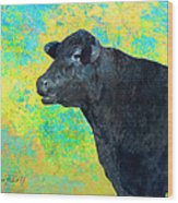 Animals Cow Black Angus  Wood Print by Ann Powell