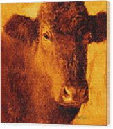 animals- cows- Brown Cow Wood Print by Ann Powell