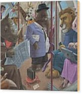 Animals On A Tube Train Subway Commute To Work Wood Print