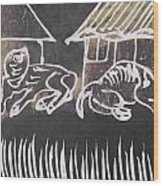 Animals Pose In The Remote Village. Wood Print