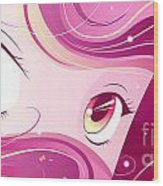 Anime Girl Wood Print by Sandra Hoefer