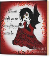 Anime Little Girl Vampire Wood Print by Eva Thomas