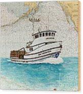 Ann Kathleen Crab Fishing Boat Nautical Chart Map Art Wood Print