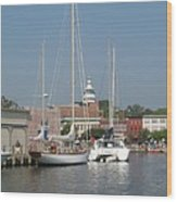 Annapolis Harbor Alongside Dock Street Wood Print