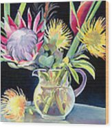 Anna's Protea Flowers Transparent Wood Print