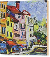 Annecy France Canal And Bistros Impressionism Knife Oil Painting Wood Print