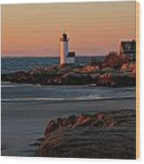 Annisquam Lighthouse At Sunset Wood Print