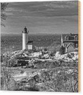 Annisquam Lighthouse Black And White Wood Print