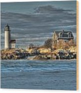 Annisquam Lighthouse From The Beach Wood Print