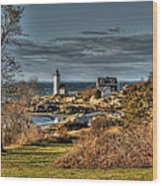 Annisquam Lighthouse Late Autumn Wood Print