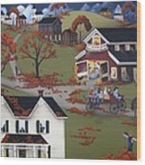 Annual Barn Dance And Hayride Wood Print by Catherine Holman