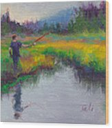 Another Cast - Fishing In Alaskan Stream Wood Print