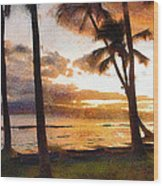 Another Maui Sunset - Pastel Wood Print