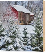 Another Wintry Barn Wood Print