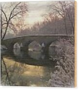 Anteitam Burnside Bridge In Spring Snow Wood Print