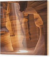 Antelope Canyon Gorgeous Lightbeam Wood Print