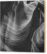 Antelope Canyon Waves Black And White Wood Print