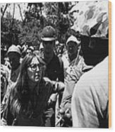 Anti-viet Nam War Protestor Confronting Smoking Marine Pro-war March Tucson Arizona 1970  Wood Print