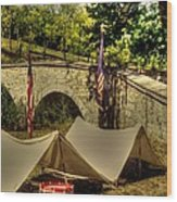 Antietam - 8th Connecticut Volunteer Infantry-a1 Encampment Near The Foot Of Burnsides Bridge Wood Print