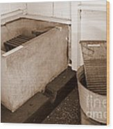 Antiquated Bathtub Washboard And Laundry Tub In Sepia Wood Print
