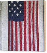 Antique American Flag Wood Print