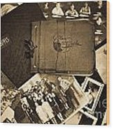 Antique Autograph And Photo Albums And Photos Wood Print by Amy Cicconi