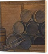 Antique Barrels And Carte Wood Print by Richard Jenkins