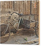 Antique Bicycle In The Town Of Daxu Wood Print