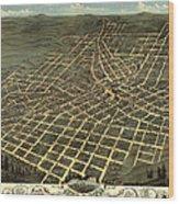 Antique Bird's-eye View Map Of Atlanta 1871 Wood Print